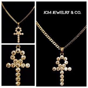 """14K Gold Plated Cuban w/Iced Out 1.5"""" Ankh Pendant"""