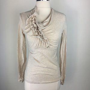 CAbi ruffled neck long sleeve cream shirt  small