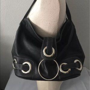 Faux black leather purse