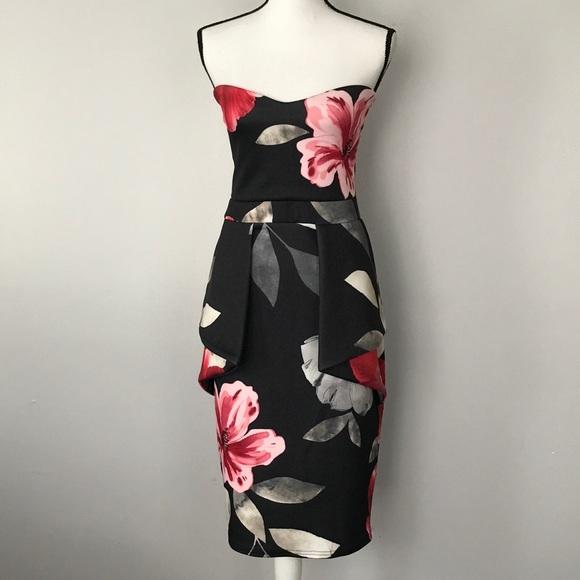 eec27c46d9 NWT Boohoo Sinead Floral Peplum Dress Blk 16