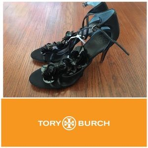 New Tory Burch Black Silk Heels - Size 10.5