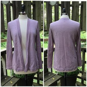 Eileen Fisher Lavender Open Front Cardigan Sweater