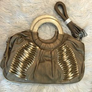 Handbags - Large Gold Small Top Handle Bag with Adj. Strap
