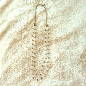 Charming Charlie Long Gold and Clear Necklace