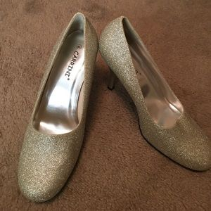8.5 Carrini Light Gold Glitter Heels