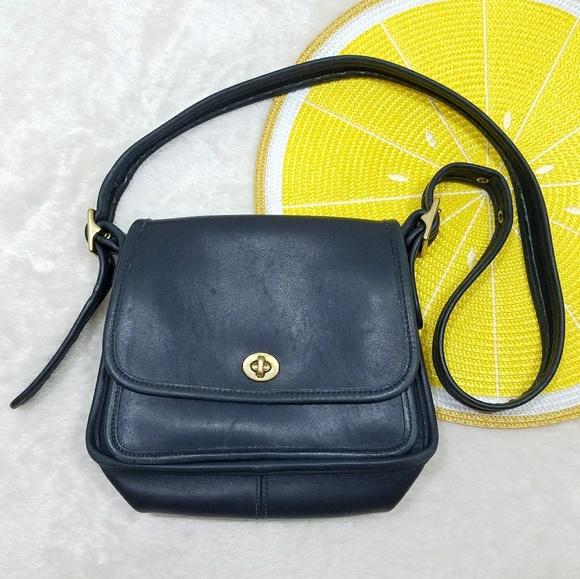 Coach Handbags - Coach Vintage Navy Blue Leather Saddle Bag 0d0c9640b5087
