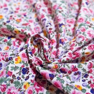 MADEWELL EUC Multi Floral Scarf with Red Trim