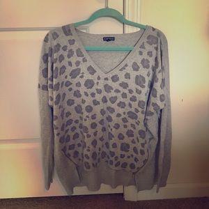 Express grey leopard print sweater