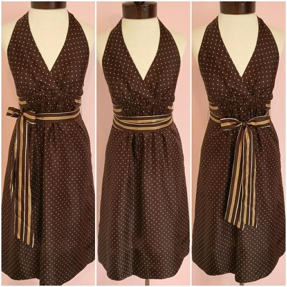 38a2e3e6fbc BCBGMaxAzria Silk Polka Dot Halter Top Dress