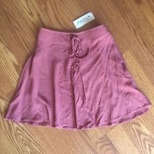 Kendal & Kylie Rose Pink Mauve Lace Up Mini Skirt