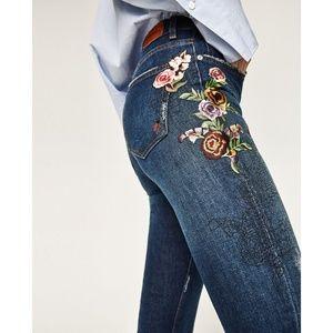 HP ❤️ Zara Floral Flower Embroidered Crop Jean 34