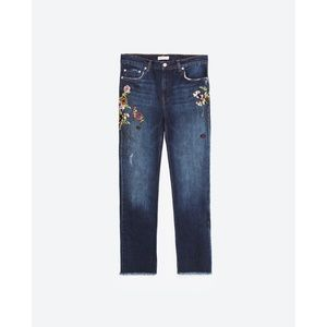 8107e8a1 Zara Jeans | Hp Floral Flower Embroidered Crop Jean 34 | Poshmark