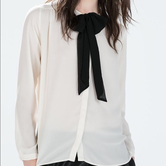 Zara Tops Nwot White Blouse With Black Bow Poshmark