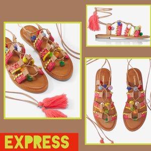Express Shoes - 🆕Express Pom Pom Tassel Sandals