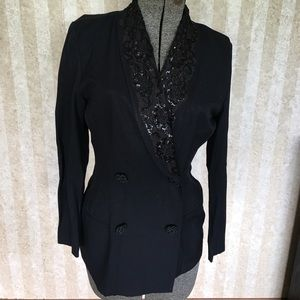 90s black blazer with lace and sequins on collar
