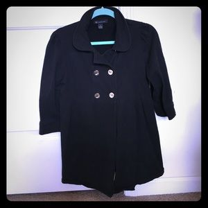 INC black 3/4 sleeve jacket with silver buttons
