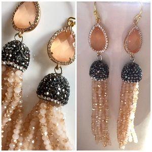 Jewelry - Beaded tassel / pave / crystal earrings