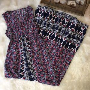 Red, White, & Blue Geometric Aztec Maxi Dress