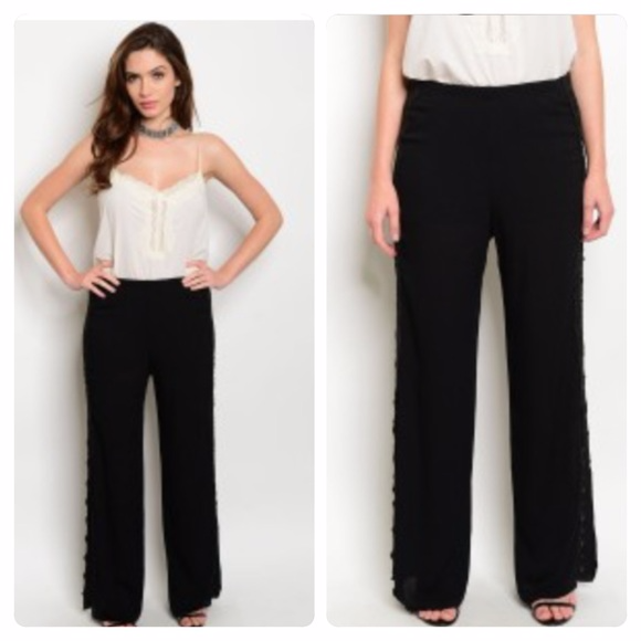Denim, Boots, & Bling Pants - Palazzo Pants with Crocheted Detailing