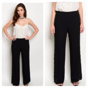 Palazzo Pants with Crocheted Detailing