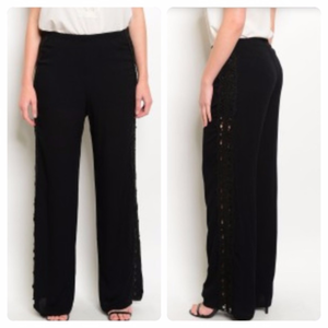 Denim, Boots, & Bling Pants & Jumpsuits - Palazzo Pants with Crocheted Detailing