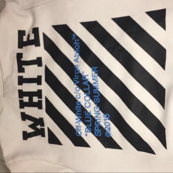 OFF WHITE Blue Collar Hooded Sweatshirt White SS16