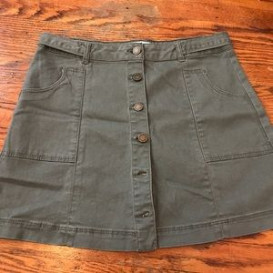 Army green button down skirt