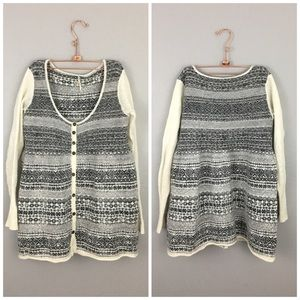 Free People Gray White Babydoll Button Up Sweater