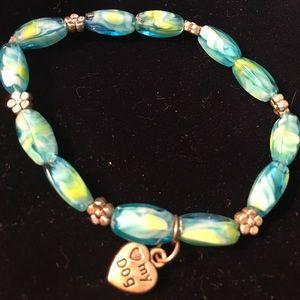 "Jewelry - ""I love my Dog"" TURQUOISE BLUE/Green Bracelet"