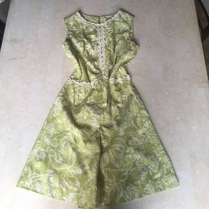 VINTAGE Patterned Green Dress