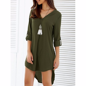 Dresses & Skirts - Asymmetrical V Neck Casual Going Out Dress,Size XL
