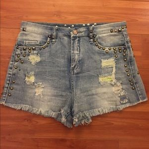Blank NYC denim shorts with metal studs