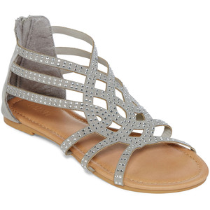 Shoes - 🎁New!! Studded Pewter Gladiator Sandals, sz. 10