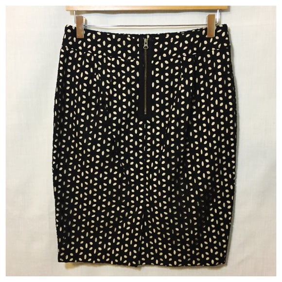 loft loft black floral eyelet pencil skirt sz 4 from