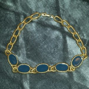 NWOT Blue and Gold Enamel Statement Necklace