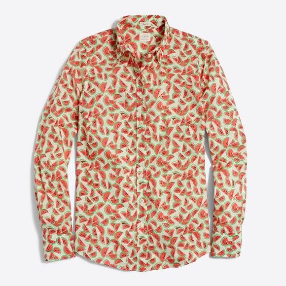 72% off J. Crew Tops - J Crew Watermelon Print Button Down Shirt ...
