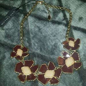NWT Ann Taylor Flower Enamel Statement Necklace