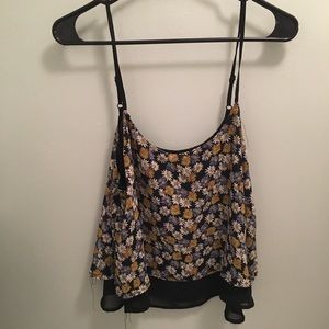 Floral and black tank top