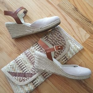 Land's End Canvas Leather Jute Wedge Espadrille