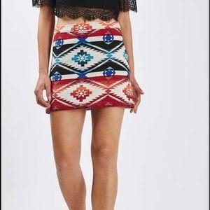 Topshop printed jacquard skirt