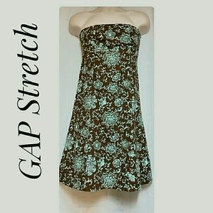 Gap Stretch Strapless Dress Brown Green Size 6