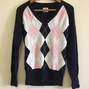 H&M 100% cotton argyle v-neck sweater