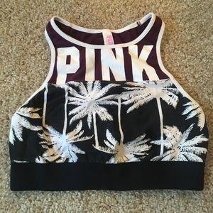 Pink High Neck Sports Bra, S