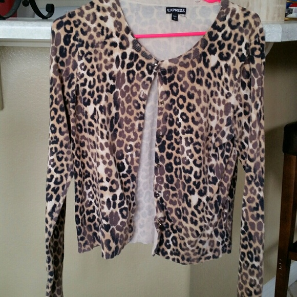 74% off Express Sweaters - Leopard cardigan from Express crystal ...