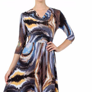 Printed, Cowl Neck Dress