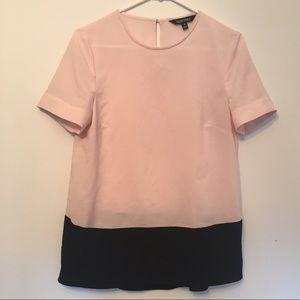 Chiffon Color Block Short Sleeve Top