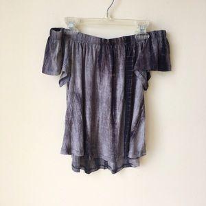 Tops - Tie Dye Off Shoulder Purple Boho Top