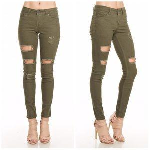 Denim - Olive Stretch Destroyed Skinny Jeans