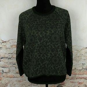 Lou & Grey LOFT  Sm Olive Green Floral Sweatshirt