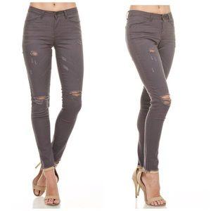 Denim - Gray Destroyed Stretch Skinny Jeans!